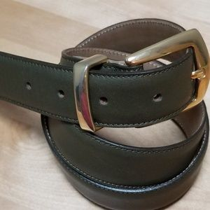 TALBOTS | FERN GREEN LEATHER BELT BRASS BKLE, 36""